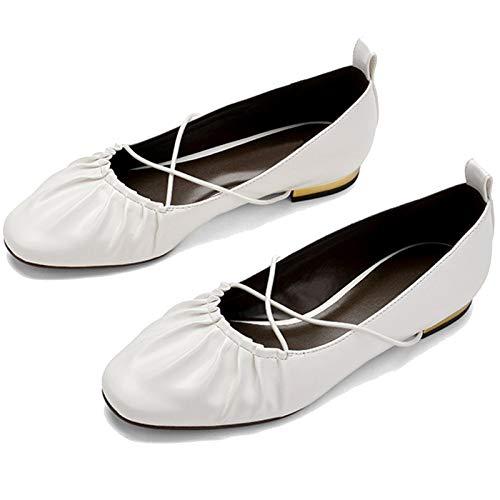 WMOFC Mujeres Elegantes Zapatillas De Ballet, Zapatos Retro De Tacón Retro Correa Cruzada Zapatos Casuales Zapatos Planos Solo Zapatos Suave Suela,Blanco,38