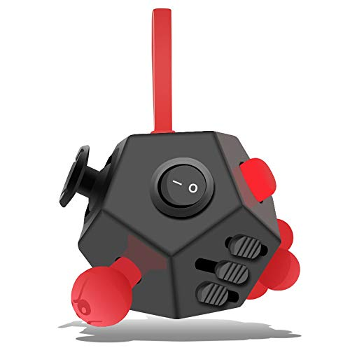 Minilopa Fidget Dodecagon –12 Side Fidget Toy Cube Relieves Stress and Anxiety Anti Depression Cube for Children and Adults with ADHD ADD OCD Autism (A4 Black red)