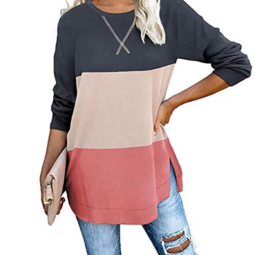 Yidarton Damen Kurzarm T-Shirt Casual Patchwork Sommer Lose Shirt Asymmetrisch Oversize Oberteile …