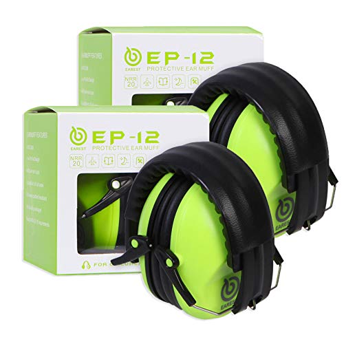 EAREST 2 Pack Hearing Protection Ear Muffs, NRR 20dB Noise Reduction Safety Earmuff/Ear Defenders/Ear Protector for Shooting/Hunting/Yard Working Fits Adults to Kids - Green