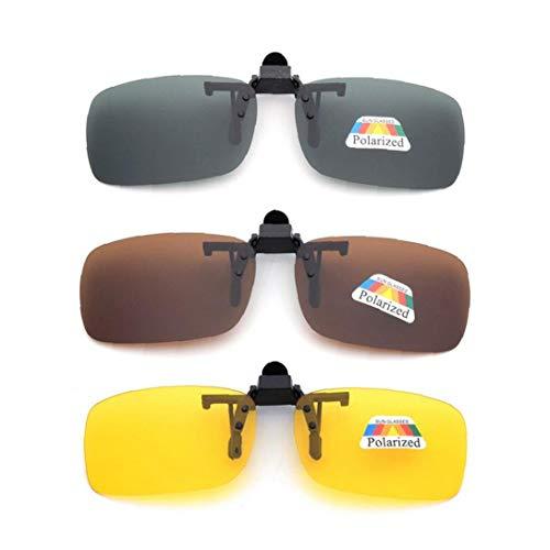 3 lentes polarizadas unisex UV400 sin marco, lentes rectangulares abatibles, con clip para gafas de sol, gafas de visión nocturna, productos para el hogar
