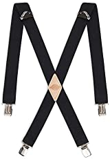 Dickies Men's 1-1/4 Solid Straight Clip Suspender, Black, Extended Size