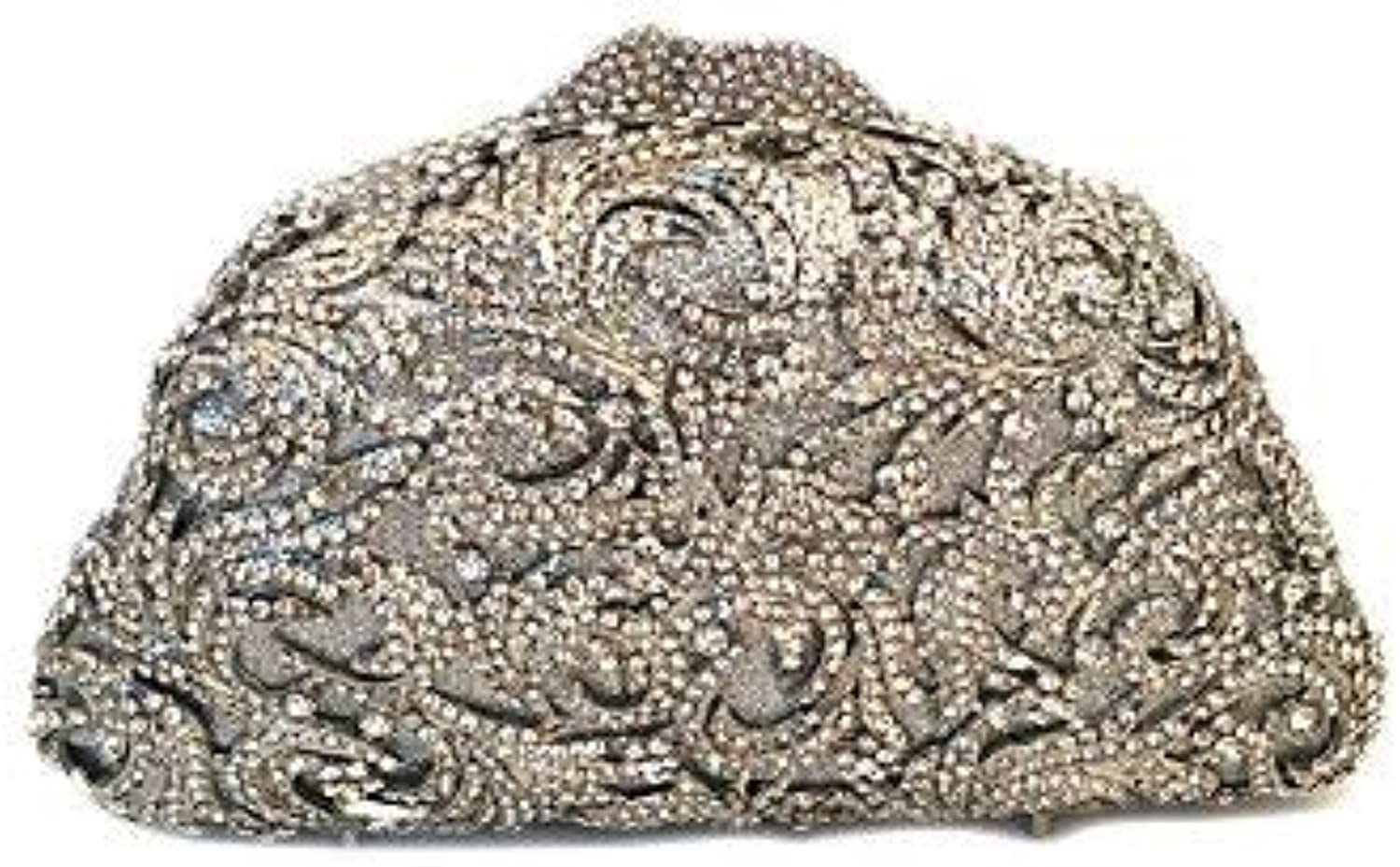 Ladies Handbag Women Vintage Rhinestone Crystals Beaded Clutches Evening Bags gold Black Silver (color   Silver)