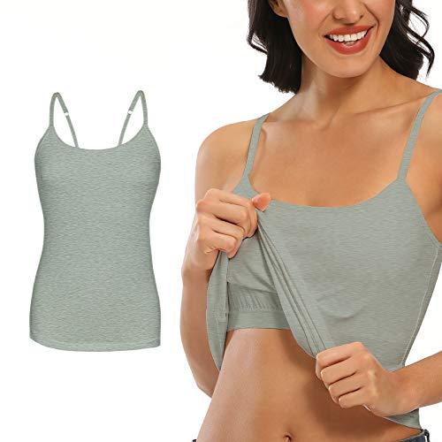 SLIMBELLE Mujer Camiseta de Tirantes con Sujetador Integrado Correas Ajustables Cuello Redondo Chaleco Básico Top