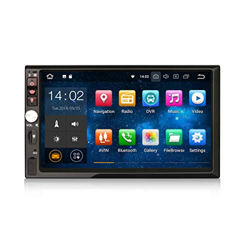 Erisin Android 9.0 Doppel Din Autoradio HD Digitaler Touchscreen 2Din Multimedia Player Universal Quad-Core Bluetooth Multimedia-Player mit GPS Navi 4G WiFi OBD TPMS DVB-T2 DAB + Mirror Link PX30