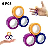 changsha 6 Pcs Magnetic Rings Toys, Finger Game Decompression Ring, Decompression Magic Floating Ring Props, Stress Fidget Relief Rings for Kids & Adults for Games