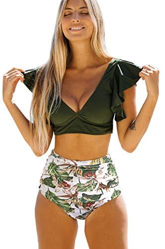 SPORLIKE Women Ruffle High Waist Swimsuit Two Pieces Push Up Tropical Print Bikini (Print 22,X-Lage)