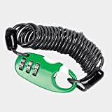 Candados de Cable de Bicicleta, candado de Bicicleta MTB con contraseña de 3 dígitos Ultraligero y antirrobo portátil Mini 90 cm elástico elástico (Verde)