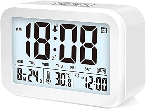 YXLM Réveil numérique, Horloge de Bureau, Affichage à la Batterie à la Maison, Horloge de Bureau de la température, 12 * 8,8 * 4,8 cm,White-12 * 8.8 * 4.8 Cm