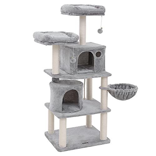 FEANDREA Stabiler Kratzbaum mit Sisal-Kratzstangen, Plüsch-Sitzmulden, einem Korb und 2 Häuschen, Kletterbaum für Katzen, Hellgrau PCT90W