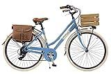 Via Veneto by Canellini Bicicletta Bici Citybike CTB Donna Vintage Retro Via Veneto Alluminio Cassetta Azzurro Taglia 46