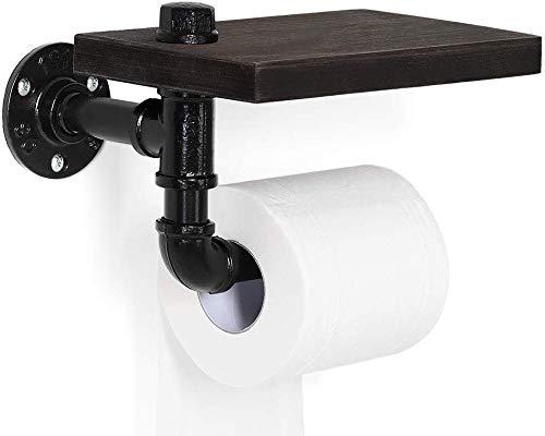 Portarrollos de papel higiénico – Estante industrial para cuarto de baño, lavadero, casa con estantería de madera rústica y tubo de metal de hierro