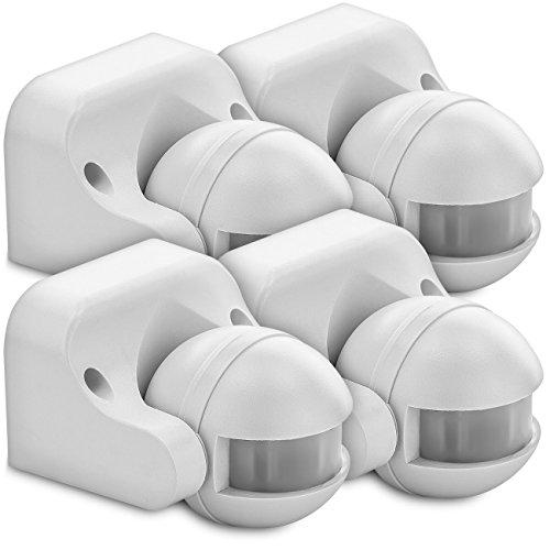 DeleyCON 4X Infrarrojos Detector De Movimiento Montaje En Pared Interior Exterior A Prueba De Salpicaduras Inclinación 180° Área De Trabajo Alcance De 12M Blanco