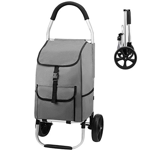 mfavour Einkaufstrolley mit 2 Rädern, faltbar, zum Schieben / Ziehen, Einkaufswagen, Aluminium/Stoff, großes Fassungsvermögen 45 kg, Grau