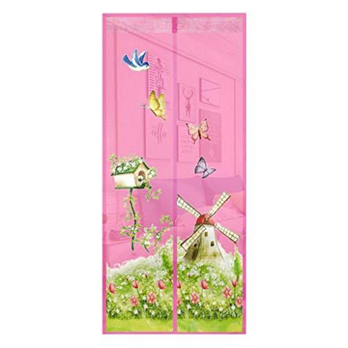 Moulin à Vent modèle moustiquaire Rideau Anti-Moustique Maille Aimant moustiquaires pour poussettes et landaus Draperies Cadre (Color : Pink, Taille : 100 * 210cm)