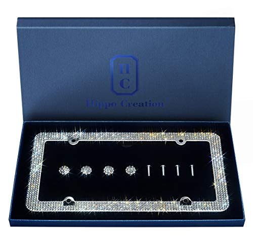 1 Pack Luxury Handcrafted Clear Rhinestone Premium 4-Hole Stainless Steel Bling License Plate Frame with Gift Box   1000+ pcs Finest 14 Facets SS20 Clear Rhinestone Crystal   Anti-Theft Screw Cap