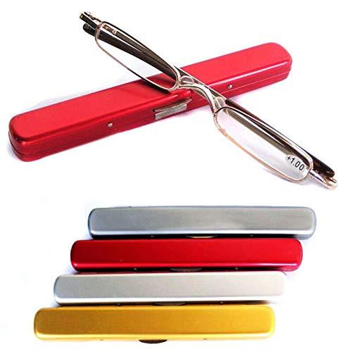Anteojos de lectura presbicia para anteojos portátiles Unisex Diseño ultrafino ultra fino con bisagra de resorte Clip liviano portátil de aluminio Estuche con clip para bolígrafo (color al azar