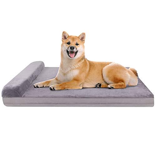 JoicyCo 犬 ベッド クッション性が抜群 足腰の弱いペットに最適 枕付き 取り外せるカバー 洗える 滑り止め ...