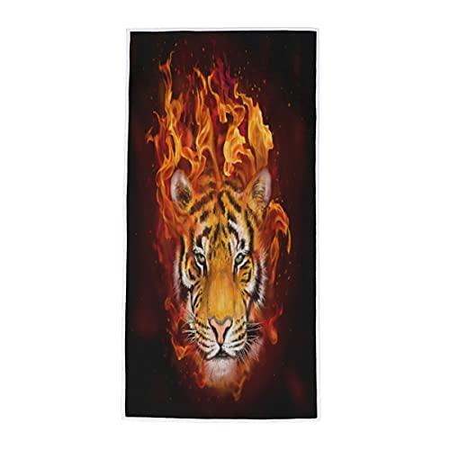 Toalla de mano con cabeza de tigre de fuego, toalla de baño, toalla absorbente suave, toalla multiusos para baño, habitación de invitados, cocina, hotel, piscina, spa, gimnasio, 38 x 76 cm