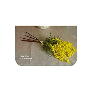 5Pcs Small Size Yellow Mimosa Bouquet Home Decoration Japanese Cherry Wedding Artificial Flower Floral Event Party,5 Piece Yellow,Total 42Cm