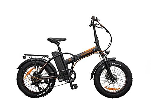 Italia Power E- Bike, Bicicletta Elettrica Pieghevole Unisex Adulto, Nero, M
