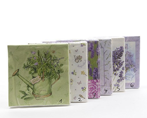 Unbekannt Papierservietten Motivservietten Tischdeko Deko Frühling Lavendel 33 x 33 cm 6 Sortierungen