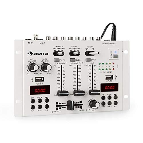 auna DJ-22BT MKII Mischpult, 3/2-Kanal-DJ-Mischpult, Bluetooth, 2 x USB, 2 Displays, Bluetooth, Ein- und Ausgänge im Cinch-Format, 3 x 6,3 Klinkenanschlüsse für Kopfhörer und 2 Mikrofone, Weiß