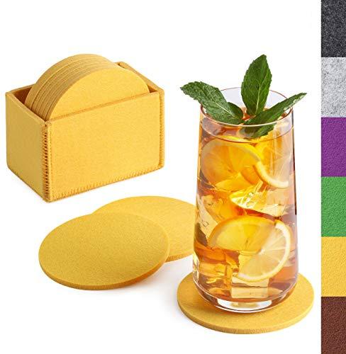 Sidorenko Posavasos de fieltro redondo para vasos - Juego de 10 incl. caja - Posavasos de diseño en amarillo para bebidas, copas, bar, vaso - Posavasos de fieltro de mesa premium