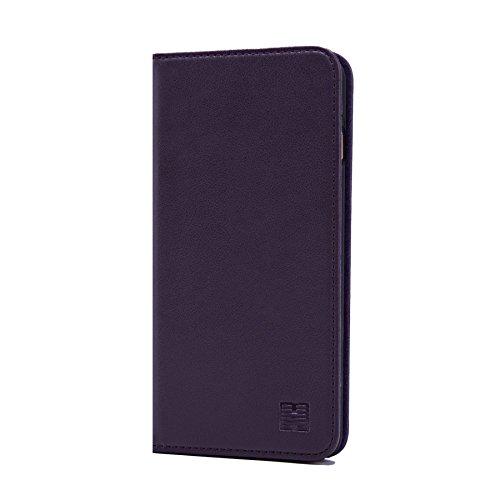 32nd Klassieke Serie - Echt Lederen Book Portemonnee Flip Hoesje Cover voor Apple iPhone 6 & 6S, Echt Lederen Ontwerp Met Kaartsleuf, Magnetische Sluiting en Ingebouwde Standaard - Aubergine