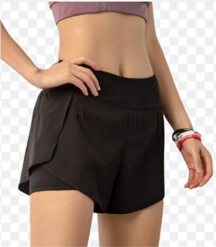 ZYLL Pantalones Cortos para Mujer 2 en 1 Running Sports Doble Capa Transpirable Seco rápido Gimnasio Entrenamiento Entrenamiento Transporte Pantalones Atléticos Pantalones Cortos,Negro,S