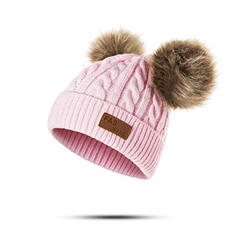 Infant Toddler Baby Knitting Woolen Hat Warm Winter Pure Color Double Pom Pom Boys Girls Beanie Cap (1-3 Years Old, A-Light Pink)