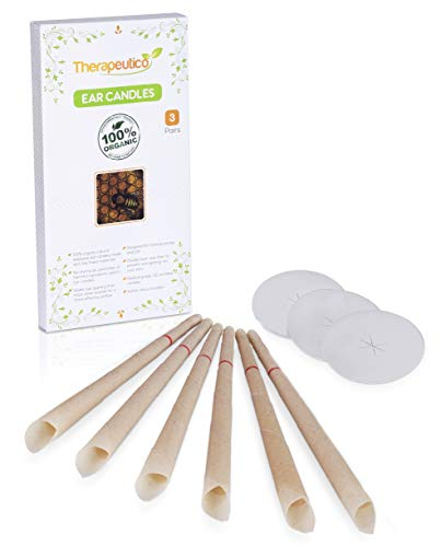 Therapeutico Natural Organic 100% Beeswax Hopi Ear Candles, 6 Hand-Crafted Candles, Medical Grade With Safety Disc and Double Wax Filter, Relaxing | Free Ebook |