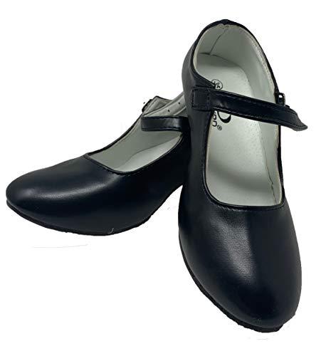 Zapato Flamenco Baile sevillanas niña,Mujer Negro 25