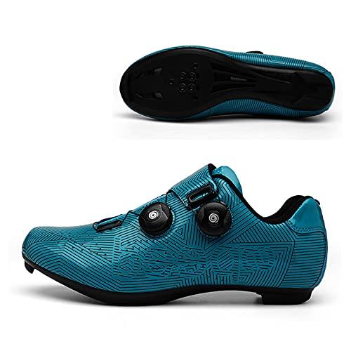 Zapatos de ciclismo para hombre y mujer, antideslizantes, transpirables, para ciclismo, bicicleta de carretera, bicicleta de montaña, parte inferior plana, antideslizante, color azul 41EU