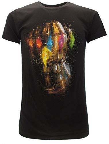 T-Shirt Guanto di Thanos Marvel Ufficiale Originale Nera Maglia Maglietta (XS (10-14 Anni))