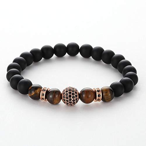 ShSnnwrl Stile Classico New Natural Stone Beads Braccialetto Skull & Crown Braccialetto di Perle di Pietra Naturale per Uomo Don