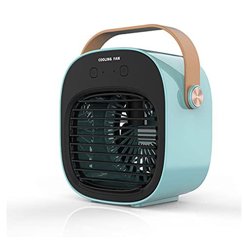 Ventilador Usb Mini Ventilador Portatil, USB Enfriador de Aire Humidificador Medidor de Batería de 4000Ma Mini Acondicionador Refrigerado por Agua Para Oficina en casa Viajes al Aire Libre,Azul