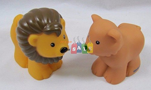 Fisher Price Little People Replacement Animals  Noah s Ark Zoo  Lion Pair  Male & Female  Lighter Male Style