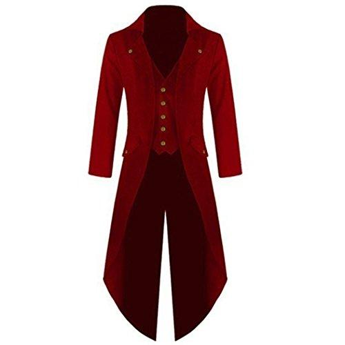 mioim Herren Frack Steampunk Gothic Jacke Vintage Viktorianischen Langer Mantel Kostüm Cosplay Kostüm Smoking Jacke Uniform (L, Rot)