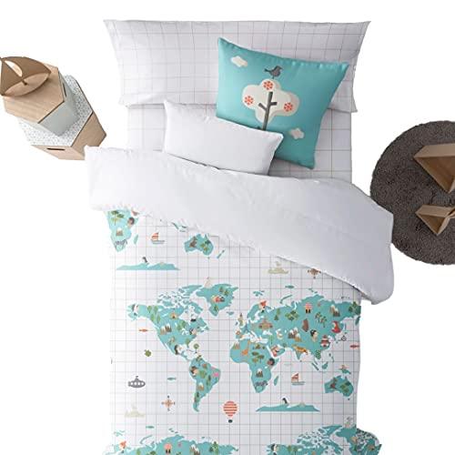 Belum | Funda nórdica con Botones 100% algodón Modelo Mapamundi Azul | Funda Nórdica Cama | Funda Nórdica de Calidad | Funda Nórdica con Botones (Cama 90)