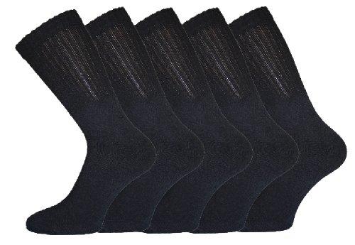 Socks Uwear Lot de 5 paires de chaussettes de sport en coton pour homme Noir 39-45