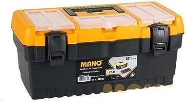 Mano Pt/16 Organizerli Plastik Kilitli Takım Çantası, Polipropilen, Siyah/Sarı, 16 ''