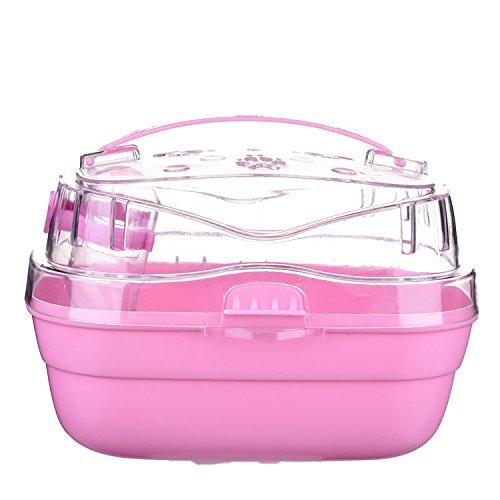 Cheerfulus Panier de Transport pour Hamster et Souris avec Bouteille d'eau Intégré pour Animal de Petite Taille Rose