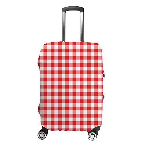 Gepäckabdeckung, verdickt, waschbar, rot-weiß, kariert, Polyester, Fibe, elastisch, faltbar, leicht, Reisekoffer-Schutz