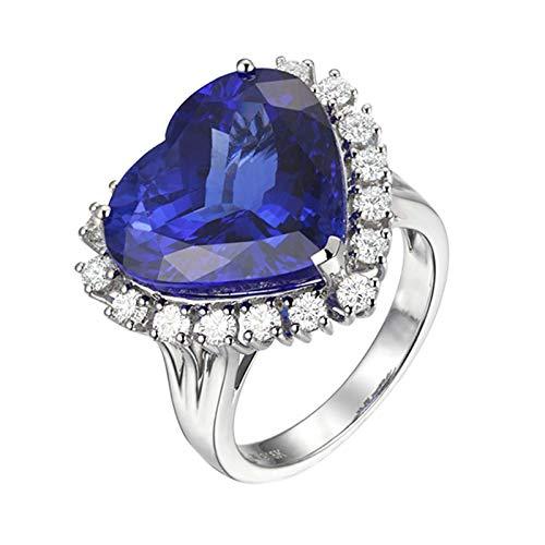 KnSam Damen Ringe Echtgold Gold Ring Ehering Herz Ring Aus 18 K Gold Mit 7.87Ct Tansanit Weiß