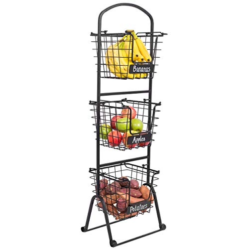 BIRDROCK HOME 3-Tier Wire Market Basket Stand with Chalk Label - Snack Fruit Vegetable Produce Metal Hanging Storage Bin for Kitchen Pantry - Free-Standing or Stacking Organizer - Black