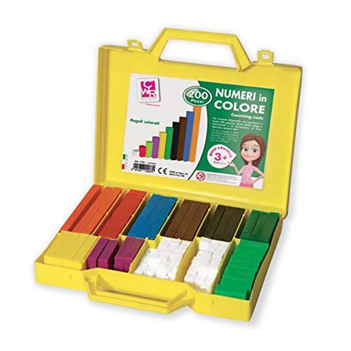Valigetta regoli numeri in colore 200 pz insegnamento matematica sussidio didattico scuole elementari