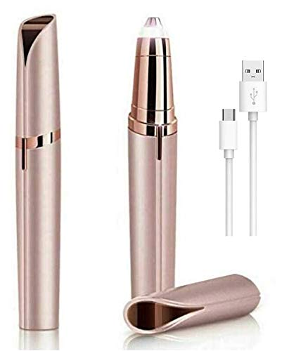 LA Beauty™ Finishing Touch Flawless Brows Remover Augenbrauen Trimmer für Frauen schmerzfreie Haarentfernung Augenbrauen Rasierer mit Licht Rose Gold (USB)
