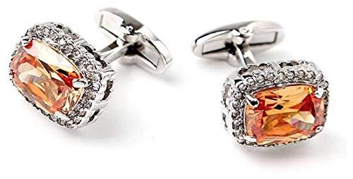 Zyuan Gancho De Los Hombres Gemelos De Gemelos De Gemelos para Hombres Y Mujeres Botones De Cristal Diamante Oro Plateado Gemelos ShanDD