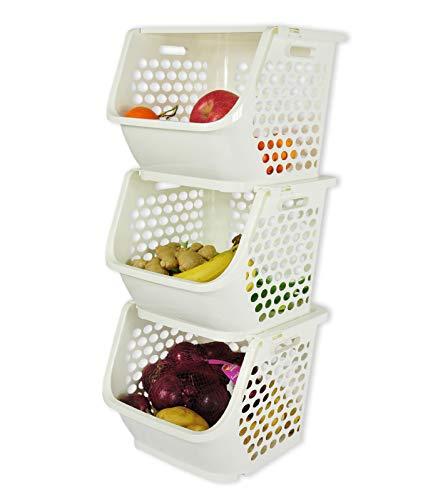 HAOGUT 3er Set Stapelboxen mit Deckel, Küchen Organizer für Gemüse, Obst, Zwiebeln, Kartoffeln Aufbewahrung, entnehmbarer Stapelkorb, Aufbewahrungsbox mit Deckel, Kunststoff Weiß